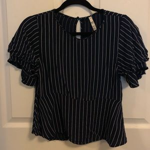 Zara Striped Peplum Top